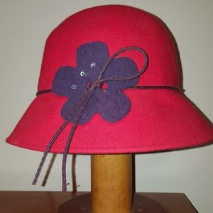 Red wool bucket hat, purple felt flower